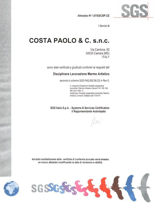 Paolo Costa Certificazione SGS