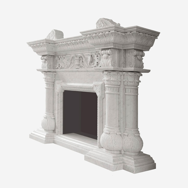 White Carrara Marble Artistic Fireplace